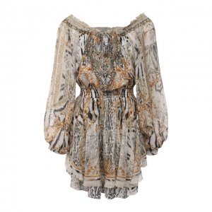 Шелковое платье Camilla. Цвет: разноцветный