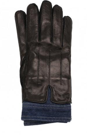 Кожаные перчатки с отделкой из денима Dsquared2. Цвет: черный