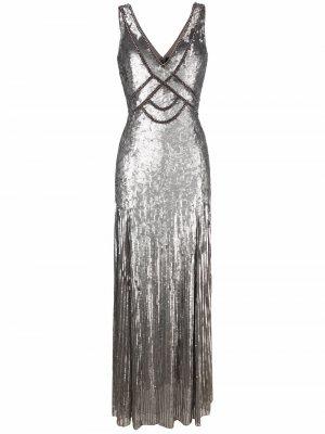 Вечернее платье с пайетками Jenny Packham. Цвет: серый