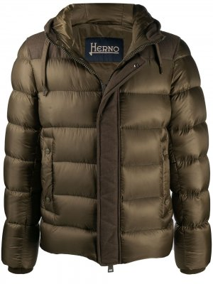 Panelled quilted zipped jacket Herno. Цвет: зеленый