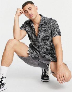 Черная рубашка с принтом в стиле банданы -Черный цвет Topman