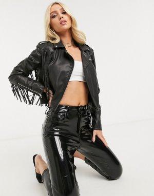 Черная куртка из искусственной кожи с бахромой Blank NYC-Черный NYC