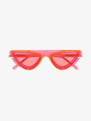 Солнцезащитные очки в оправе кошачий глаз Calvin Klein 205W39nyc. Цвет: оранжевый
