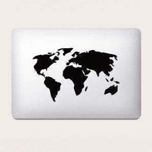 Наклейка для ноутбука с принтом карты 1 лист SHEIN. Цвет: чёрный