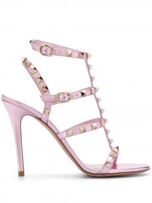 Rockstud embellished sandals Valentino Garavani. Цвет: розовый