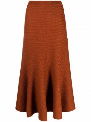 Трикотажная юбка макси с завышенной талией Gabriela Hearst. Цвет: оранжевый