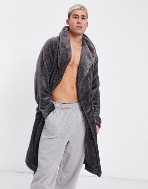 Флисовый халат для дома угольного цвета -Серый ASOS DESIGN