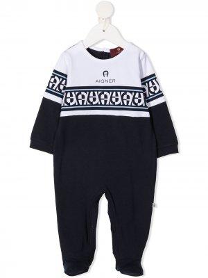 Пижама с геометричным принтом Aigner Kids. Цвет: синий
