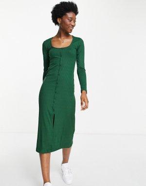 Платье миди в рубчик цвета хаки на пуговицах -Зеленый цвет Stradivarius
