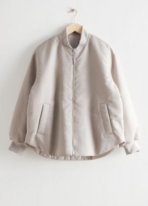 Дутая куртка-бомбер оверсайз &Other Stories. Цвет: серый