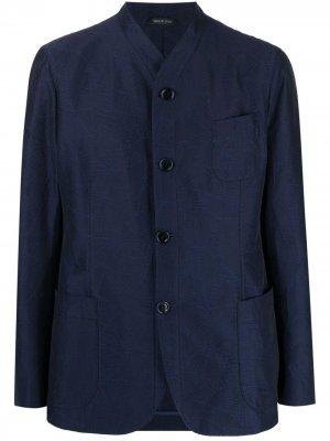 Твиловый жакет с вышивкой Giorgio Armani. Цвет: синий