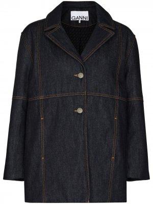 Джинсовая куртка свободного кроя GANNI. Цвет: синий