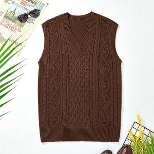 Мужской вязаный свитер с v-образным вырезом, жилет SHEIN. Цвет: кофейный коричневый