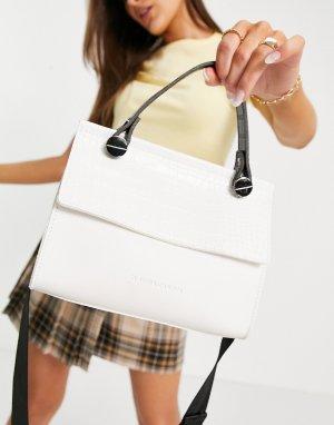 Белая небольшая сумка-тоут с широким клапаном -Белый Claudia Canova
