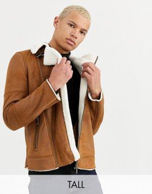 Коричневая дубленка Big & Tall-Черный Burton Menswear