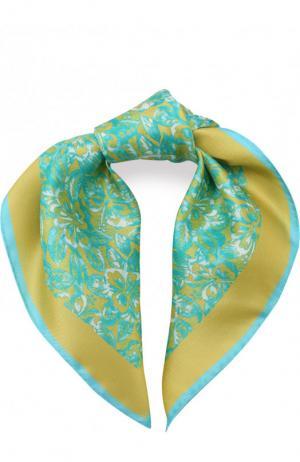 Шелковый платок с принтом Kiton. Цвет: желтый