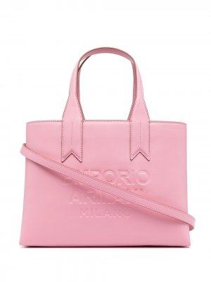 Logo-debossed tote bag Emporio Armani. Цвет: розовый