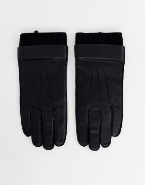 Черные кожаные перчатки Weekday. Цвет: черный