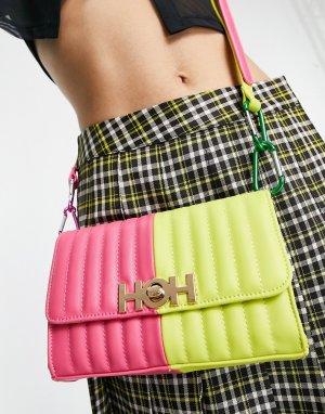 Розовая контрастная сумка с металлической планкой логотипом и зеленой вставкой -Многоцветный House of Holland