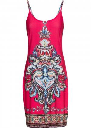 Платье с летним принтом bonprix. Цвет: ярко-розовый