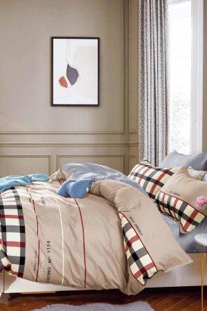 Постельное белье Евро 70x70 Jardin. Цвет: бежевый, серый