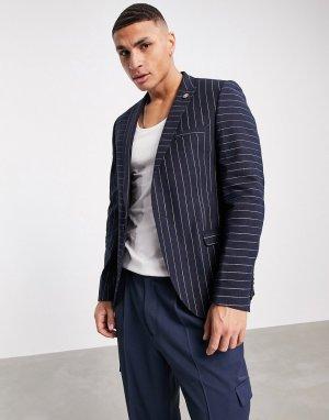 Темно-синий пиджак в тонкую контрастную полоску Twisted Tailor