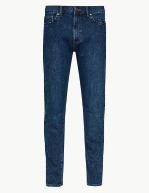 Зауженные мужские джинсы M&S Collection. Цвет: умеренный синий