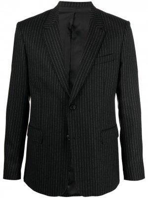 Полосатый пиджак строгого кроя AMI Paris. Цвет: черный