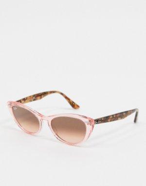 Солнцезащитные очки «кошачий глаз» с оправой розового цвета Rayban-Мульти Ray-Ban