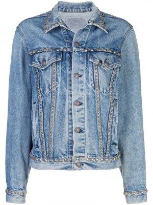 Джинсовая куртка с заклепками R13. Цвет: синий