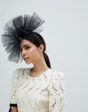 Шляпа с вуалеткой и сеточкой Elegance. Цвет: черный