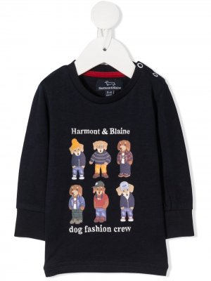 Толстовка с принтом Dog Fashion Crew Harmont & Blaine Junior. Цвет: синий