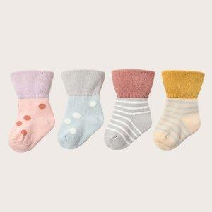Детский 4 пары Носки до середины голени в полоску SHEIN. Цвет: многоцветный