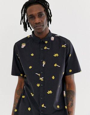 Черная рубашка с короткими рукавами и принтом Fortune-Черный Globe