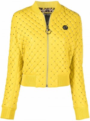 Куртка-бомбер с заклепками Philipp Plein. Цвет: желтый
