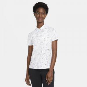 Женская рубашка-поло с коротким рукавом и принтом для гольфа Dri-FIT - Белый Nike
