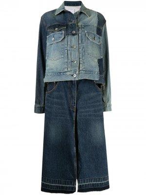 Джинсовая куртка в технике пэчворк Sacai. Цвет: синий