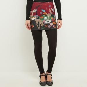Леггинсы с юбкой анималистическим рисунком JOE BROWNS. Цвет: черный