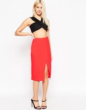 Неоновая юбка с запахом и большими карманами ASOS. Цвет: розовый