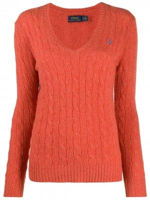 Джемпер фактурной вязки Polo Ralph Lauren. Цвет: оранжевый