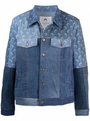 Джинсовая куртка с принтом Marine Serre. Цвет: синий