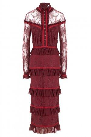 Бордовое шелковое платье LAROOM. Цвет: красный
