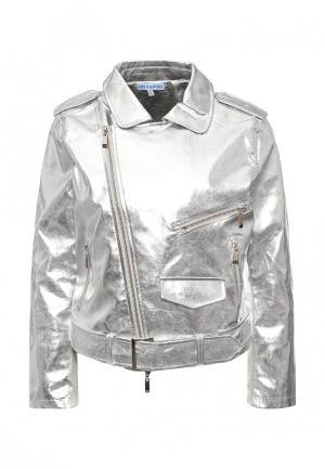 Куртка кожаная Imocean. Цвет: серебряный