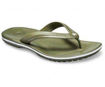 Шлепанцы CROCS Crocband™ Flip Army Green/White (Хаки/Белый) арт. 11033. Цвет: хаки/белый