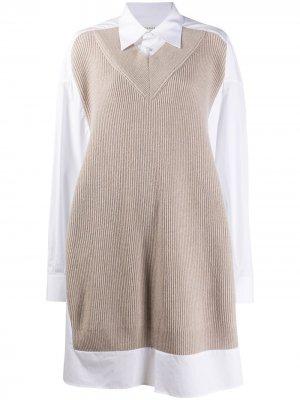 Платье-рубашка с вязаными вставками Maison Margiela. Цвет: нейтральные цвета