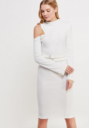 Платье Lost Ink ONE SHOULDER DOUBLE BELT BODYCON. Цвет: белый