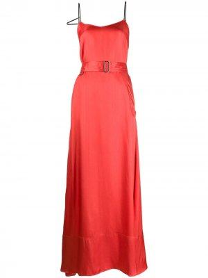 Атласное платье с поясом A.F.Vandevorst. Цвет: красный