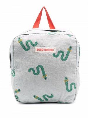 Рюкзак на молнии с нашивкой-логотипом Bobo Choses. Цвет: серый