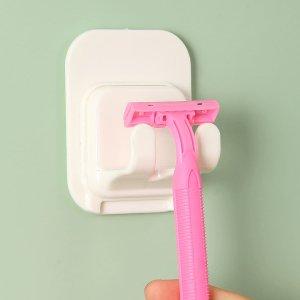 1шт Мужская бритва для бритья с держателем SHEIN. Цвет: белый