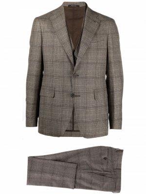 Клетчатый костюм с однобортным пиджаком Tagliatore. Цвет: нейтральные цвета